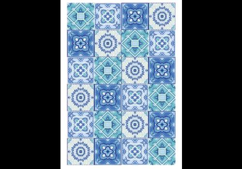 Blue Patchwork Rectangle Vinyl Mat