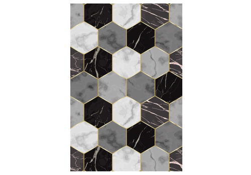 Hexagon Shapes Rectangle Vinyl Mat Black & White