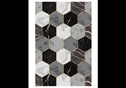 Hexagon Shapes Rectangle Vinyl Mat Black & White