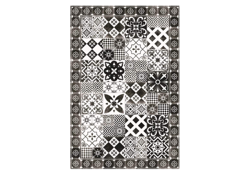 Patchwork Rectangle Vinyl Mat Black & White