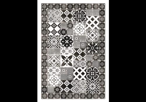 Patchwork Rectangle Vinyl Mat Black & White