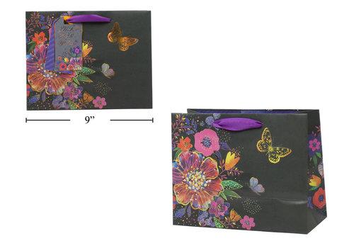 Black Floral Gift Bag Medium