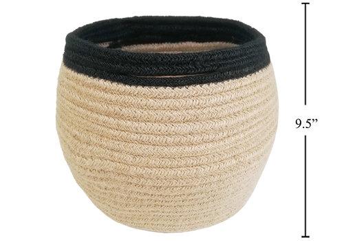 "Jute Rope Natural/Black Planter Basket 9"""
