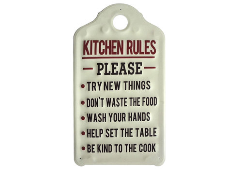 "Kitchen Rules Metal Sign 18""x10"""