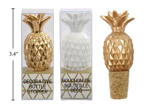 Pineapple Bottle Stopper White & Gold