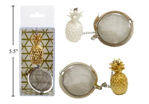 Pineapple Tea Ball White & Gold