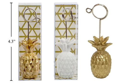 Pineapple Photo Clip White & Gold