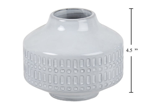 """Modern Boho Vase Light Grey 5.5""""x4.75"""""""