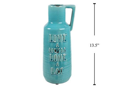 """Live a Little Jug Vase Aqua 13.5"""""""