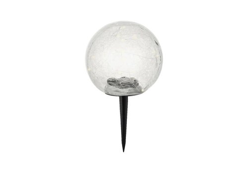 Kaemingk LED Solar Crack Glass Ball Warm White 15L