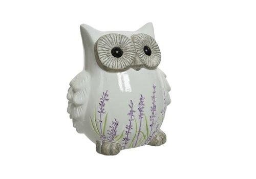 Owl Terracotta Lavender White 10.5x13.5cm