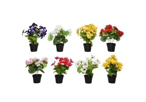 Floral Faux Plant In Plastic Pot