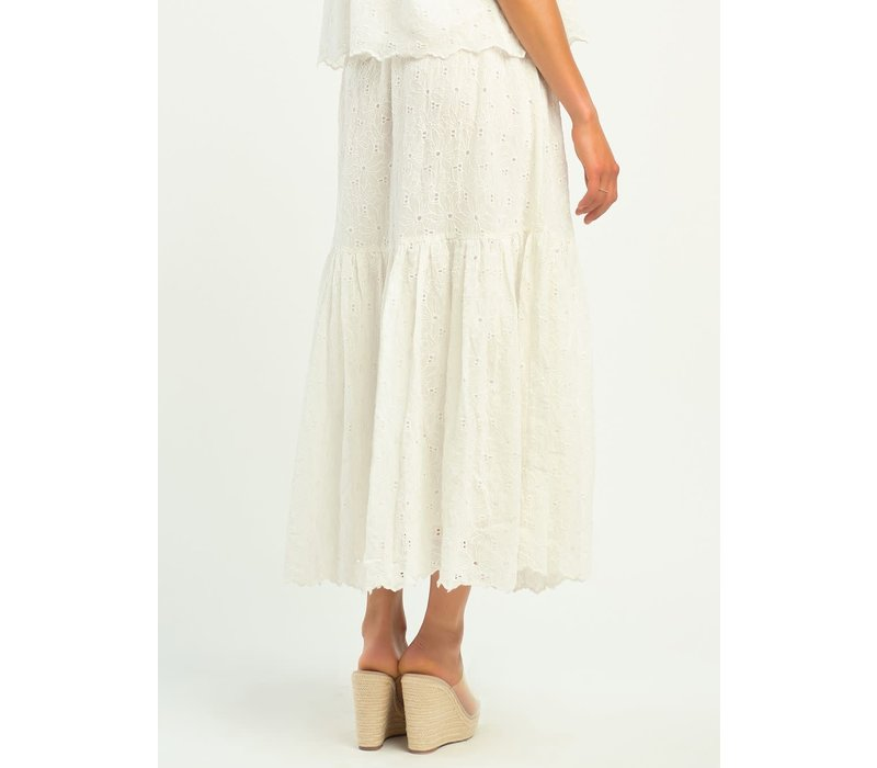 Tiered Floral Eyelet Skirt