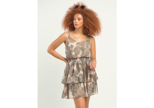 Dex Smocked Waist Tiered Printed Dress