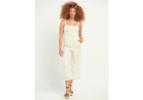 Dex Smocked Detail Striped Jumpsuit