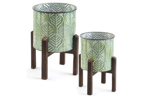 Leaf Tree Pot On Wooden Stand