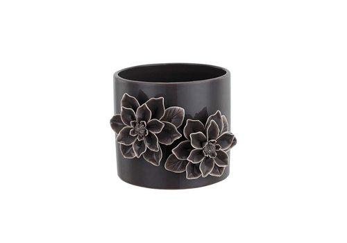 """Dark Grey 3-D Flower Planter 4.25""""x4.5"""""""