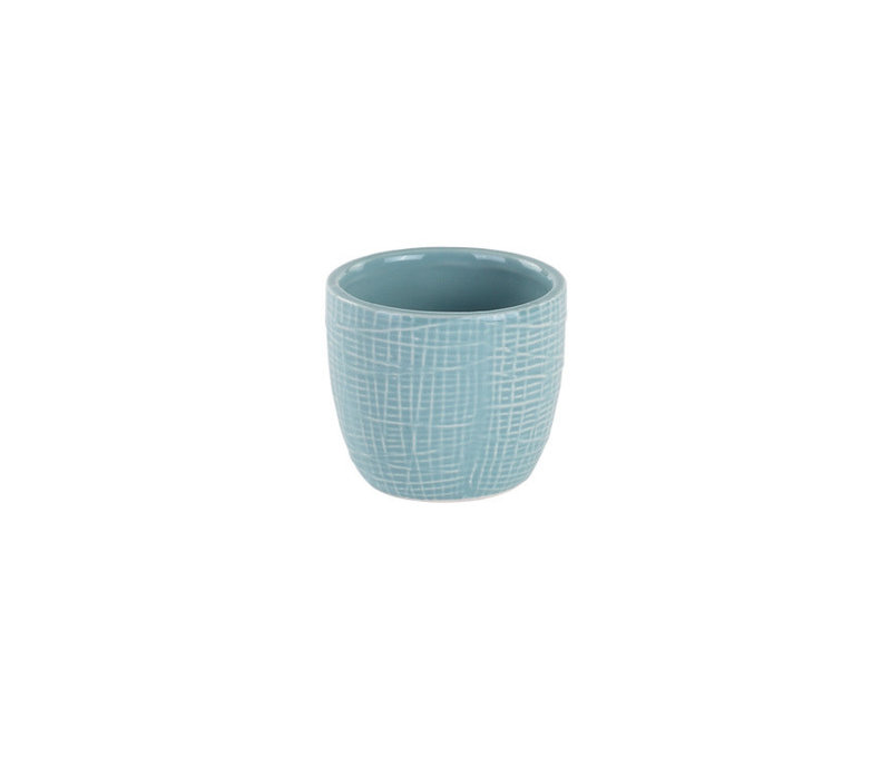 "Blue Woven Texture Mini Pot 2.25""x2.5"""