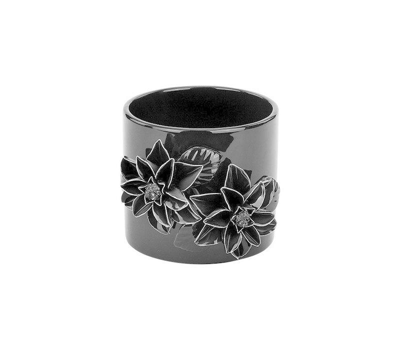 """3-D Glossy Black Flower Pot 4.5"""""""
