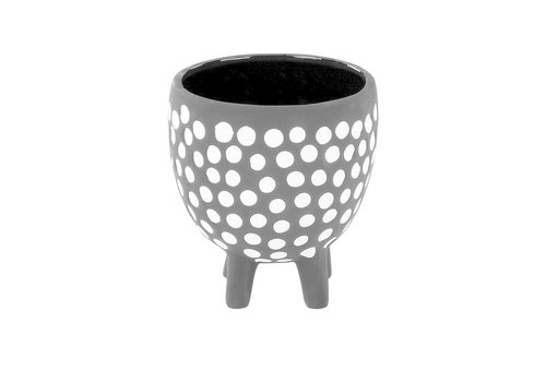 Black/White Dot Footed Pot 4""