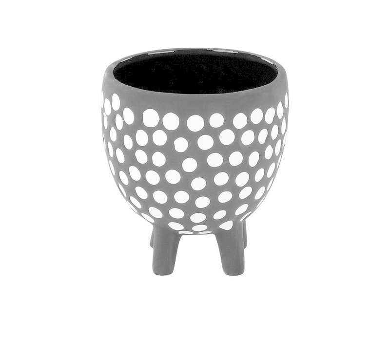 "Black/White Dot Footed Pot 4"""