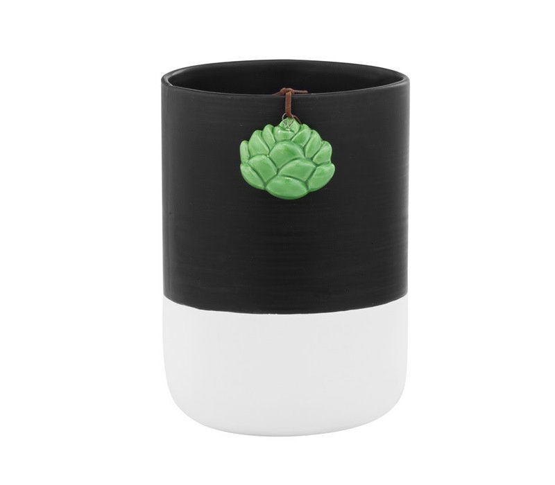 "Black/White Vase With Succulent Hanger 6.75""x4.75"""