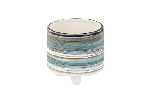 "Blue/Grey Stripe Footed Planter 3""x3.5"""