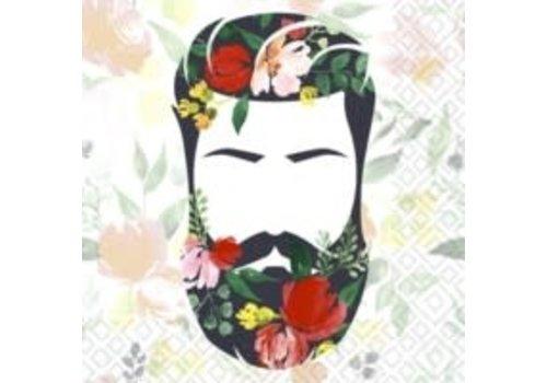 Beard n Flowers Luncheon Napkin