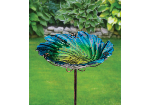 Birdbath and Feeder With Stake Blue