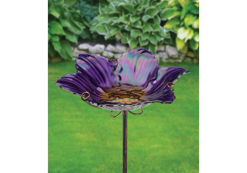 Birdbath and Feeder with Stake Purple