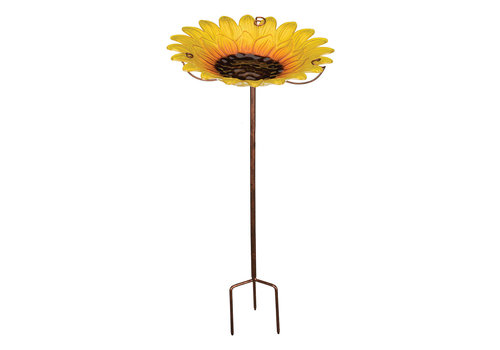 Birdbath and Feeder with Stake Sunflower