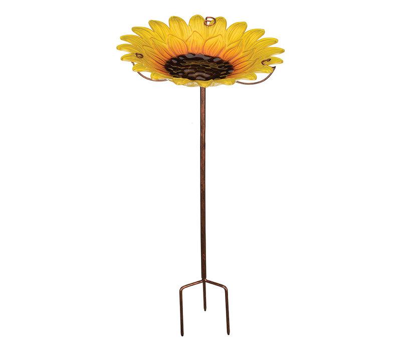 Birdbath and Feeder with Stake Sunflower