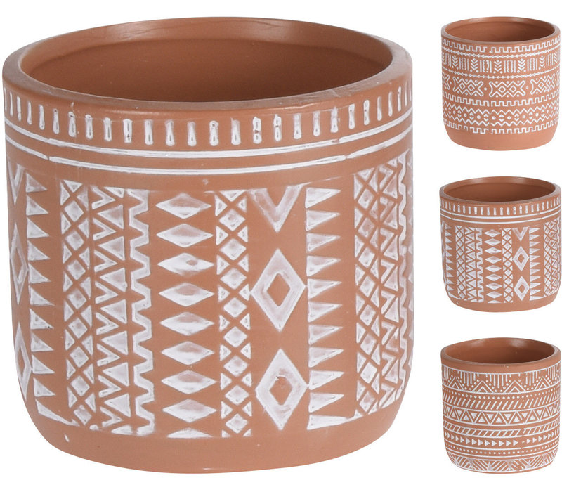 Clay Pot With White Design