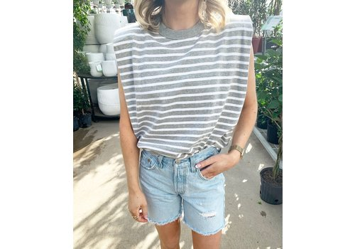 RD Style Striped Shoulder Padded Tank