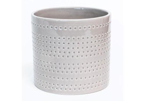 """Shiny Grey Dotted Stripes Dolomite Pot 4.5""""x4"""""""