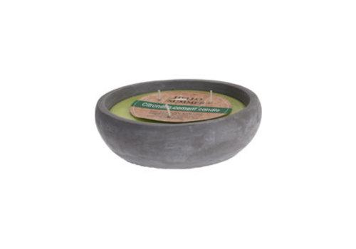 Koopman International Candle In Cement Pot Green