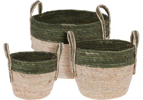 Straw Basket Green Trim