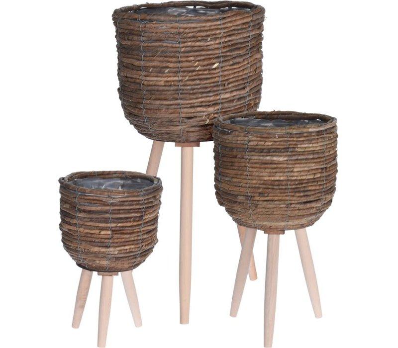 Standing Flowerpot With Wooden Legs