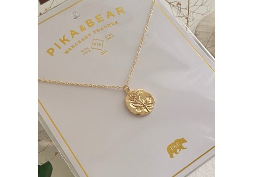 Pika & Bear Rossetti Rose Stamped Pendant Necklace Gold