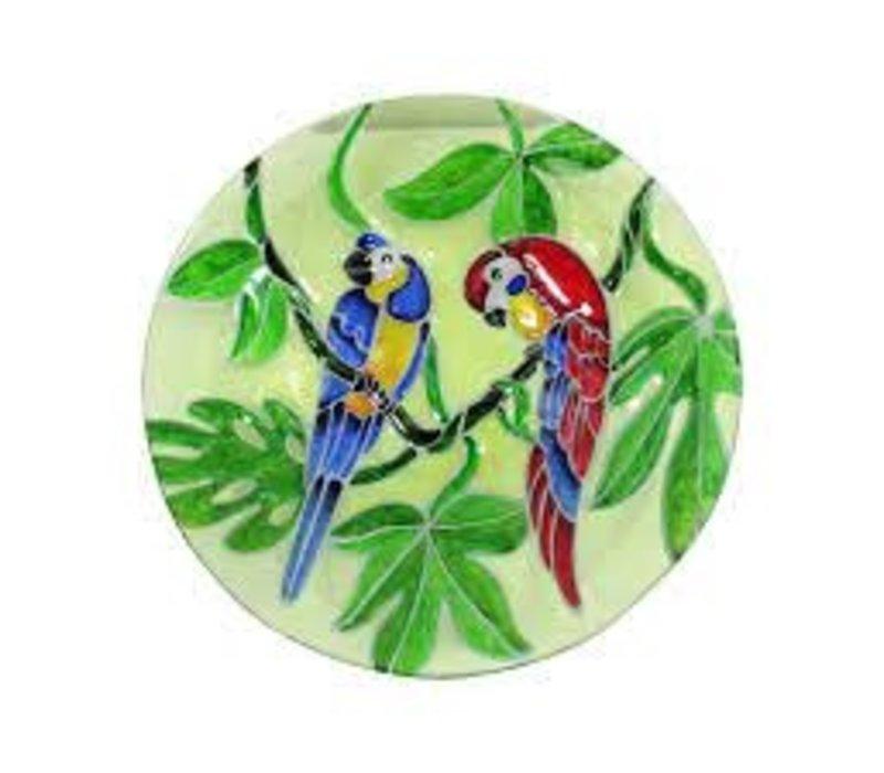 """Parrot Glass Bird Bath 18"""""""