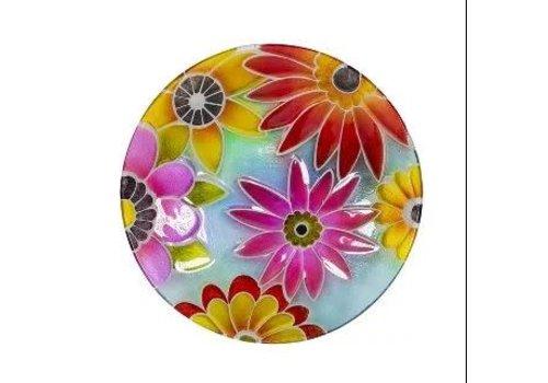 """Flower Glass Bird Bath 18"""""""