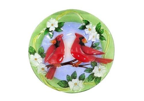 "Cardinal Glass Bird Bath 18"""