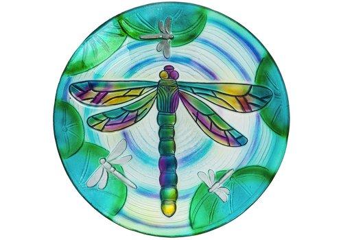 """Dragonfly Glass Bird Bath 18"""""""