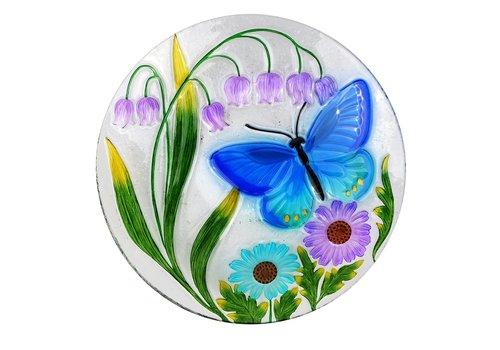 """Butterfly Glass Bird Bath 18"""""""