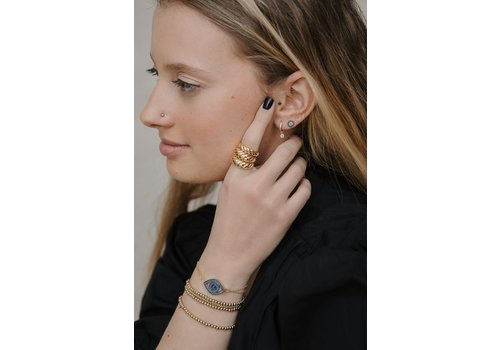 LimLim Thin Twisted Dome Ring Gold