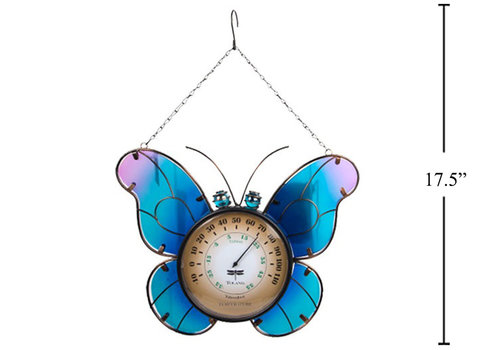 """Hanging Butterfly With Thermometer 17.5"""""""