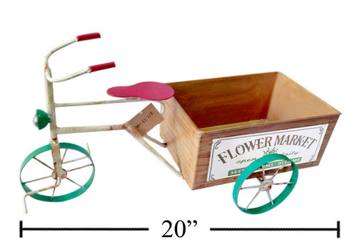 """Metal Tricycle Garden Decor With Planter 20"""""""