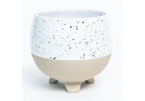Footed Speckled White Glaze Dolomite Pot