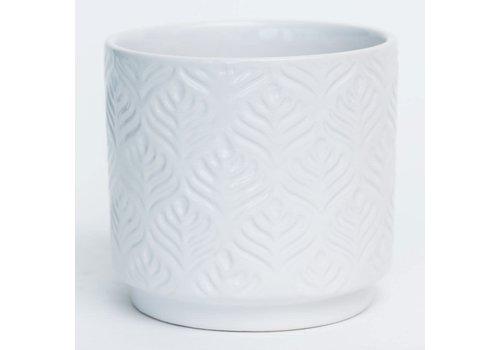 White Glazed Peacock Feather Design Dolomite Pot