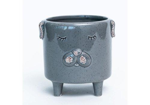 Puppy Grey Glazed Footed Dolomite Pot